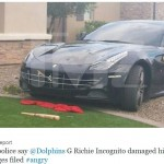 Richie Incognito smashed his black Ferrari with a baseball bat